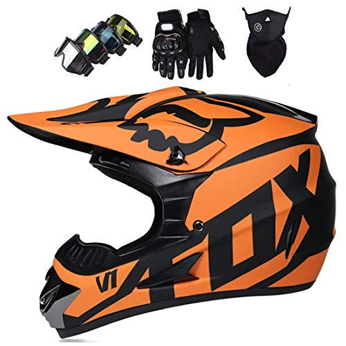 Casco de motocicleta, casco todoterreno Conjunto de casco de motocross (gafas + guantes + máscara) con diseño de Fox, casco integral MTB Downhill Off-Road ATV Dirt Bike BMX MX Motos casco