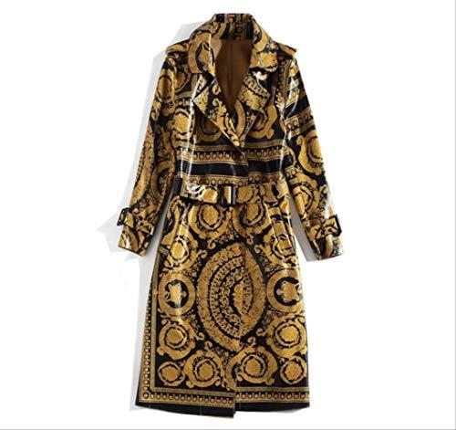 MNBV Damen Trenchcoat Herbst Runway Fashion Long Coat Frauen Langarm Vintage Pattern Print Gürtel Bright Leather Trench Coat S PictuRe