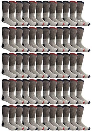 120 Pair Bulk Pack Of Mens Winter Thermal Camping Boot Socks, Cotton Tube or Crew Sock