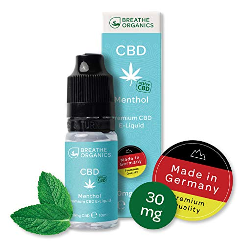 Premium CBD Liquid Menthol von Breathe Organics® | E Liquid ohne Nikotin mit 30 mg CBD | 100% natürliche Terpene | Cannabidiol Liquid | VGmax Basis