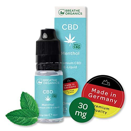 Premium CBD Liquid Menthol von Breathe Organics® | E Liquid ohne Nikotin mit 30 mg CBD | 100{274fad4937268b648702ff6336b197de2d2c6fa2875b7aba9a680dd079a6a1a0} natürliche Terpene | Cannabidiol Liquid | VGmax Basis