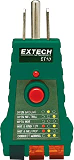 Extech ET10 GFCI Receptacle Tester; Tests For Faulty Wiring in 3-wire receptacles: Correct, Open Ground, Open Neutral, Open Hot, Hot/Ground Reverse, Hot/Neutral Reverse