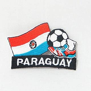 Paraguay Soccer Football Kick Country Flag Embroidered Iron-ON Patch Crest Badge