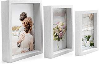 Afuly White Picture Frames 4x6 5x7 and 6x8 Three Display Shadow Box Design Deep Cases for Gallery Wall Hanging and Desk Standing, Set of 3, Recessed Glass at Bottom