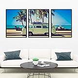 Retro Camper Van Bus impresiones de arte en lienzo carteles de coches playa palmeras lienzo pintura costera cuadros de pared arte hippie decoración del hogar 50x70cmx3 sin marco