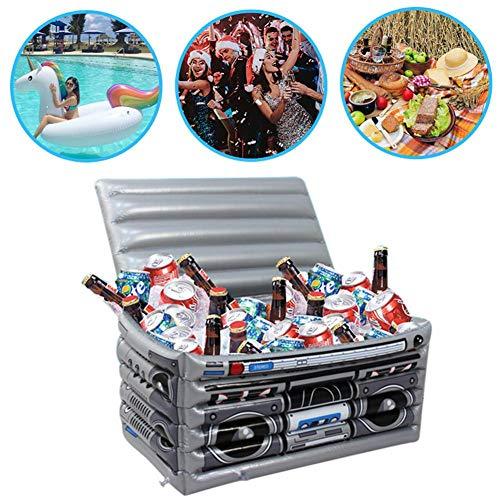 Hualieli Aufblasbarer schwimmender Eiskübel, schwimmender Buffet-Getränkehalter mit großer Kapazität aus PVC für Wasserparty-Picknick-Grill (24.80x12.99x13.78in)
