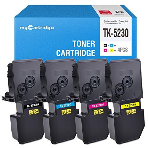 MyCartridge Compatible con TK-5230 TK5230 Toner para Kyocera Ecosys M5521CDN M5521CDW P5021CDN P5021CDW (Negro/Cian/Magenta/Amarillo)