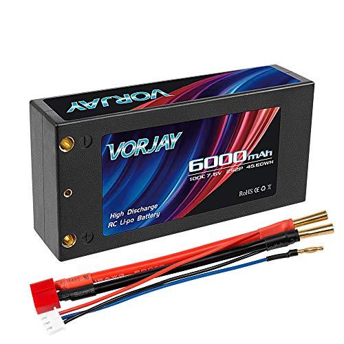 VORJAY 2S 7.6V 100C 6000mAh RC Shorty Lipo Batterie Hochvolt Hard Case mit Deans T Stecker für RC 1/8 1/10 Scale Fahrzeuge Auto LKW Boote (4mm Bullet)