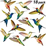 Blulu Hummingbird Window Clings Anti-Collision Window Clings Decals to Prevent Bird Strikes on Window Glass Non Adhesive Vinyl Cling Hummingbird Stickers (18 Pieces)