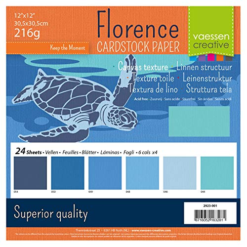 Vaessen Creative Florence Scrapbook-Papier 216 g 12x12-x24 Blatt-Multipack, blau, Paper, Multicolor, 30.5 x 30.5 x 0.7 cm