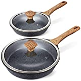 Miusco Nonstick Frying Pan Set with Lids, 10' & 12', Natural Granite Stone Coating, Premium PFOA Free Skillets with Bakelite Cool Touch Handle, Cookware Set