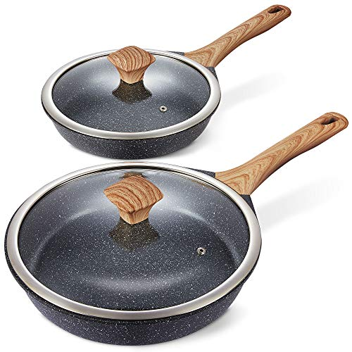 "Miusco Nonstick Frying Pan Set with Lids, 10"" & 12"", Natural Granite Stone Coating, Premium PFOA Free Skillets with Bakelite Cool Touch Handle, Cookware Set"