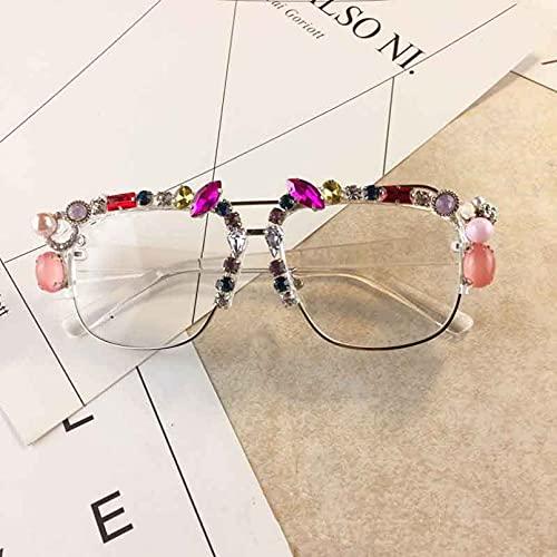DAIDAICDK Gafas de Sol cuadradas para Mujer con decoración de Diamantes de imitación Gafas de Sol con Montura Grande de Metal Lentes Transparentes