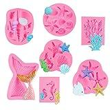 HANGNUO Moldes de silicona para fondant, diseño de criaturas marinas, cola de sirena, estrella, peces y caballitos de mar, para decoración de tartas, chocolate