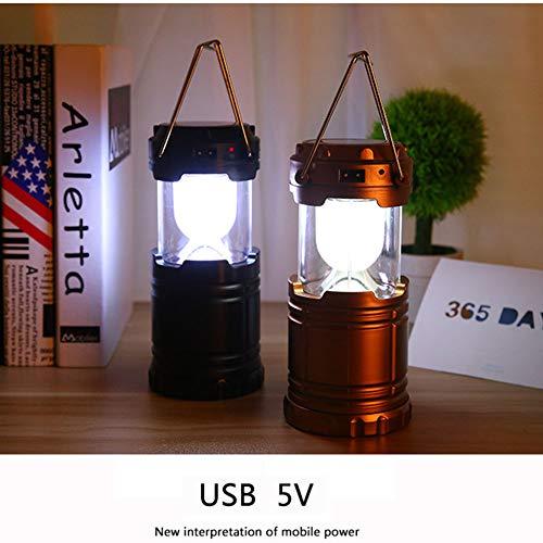 Solar USB-Aufladung LED-Licht Super Helle Outdoor-Bergsteiger Camping-Laternen Notfall Zelt Stretching-Funktion,Black