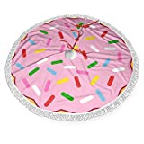 FUNINDIY Christmas Tree Skirt Pink Donut with Colorful Sprinkles Xmas Tree Skirt with Fringed Edge Christmas Decoration Holiday Party Ornaments