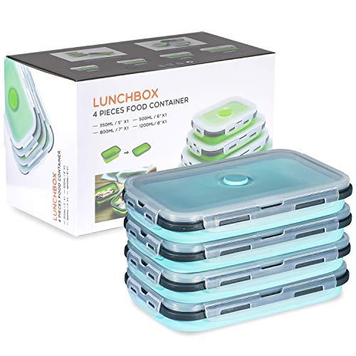 Faltbare Silikon-Lebensmittel-Aufbewahrungsbehälter mit Deckel, tragbare Lunch-Bento-Box, Picknick-Box, platzsparend, mikrowellen-, spülmaschinen- und gefriergeeignet, Set von 4 (blau, 1200 ml)