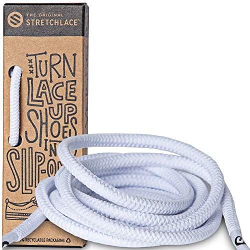 The Original Stretchlace | Elastic Shoe Laces | Round Stretch Shoelaces | White, 45' Inches (114 cm)