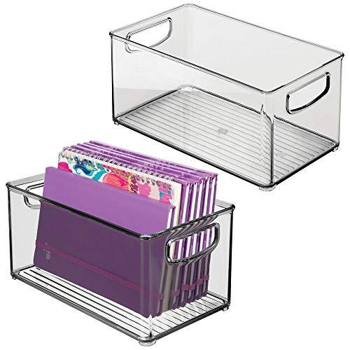 mDesign Organizer voor de kinderkamer, sorteerdoos met praktische handgrepen, zonder deksel, BPA-vrije kunststof bewaardoos met groot vak voor speelgoed, luiers, knuffeldieren etc. - lichtblauw 2er Pack Rauchgrau