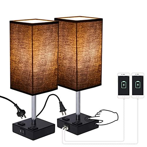 MJJLT Home Par de lámparas de Mesa táctiles, lámpara de mesita de Noche Regulable para Dormitorio con 2 Puertos USB y 2 Salidas de CA Lámpara de Mesa de Noche con Pantalla Cuadrada de Tela