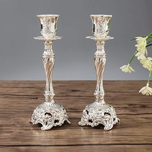Sziqiqi 2er Set Kerzenständer Kerzenhalter Kerzenleuchter in Silber für schabbat Kerzen, Metall Deko Kerzenständer, Vintage Kerzen Ständer Tischdeko für Hochzeit Wohnzimmer Tabelle Schabbat, Silber