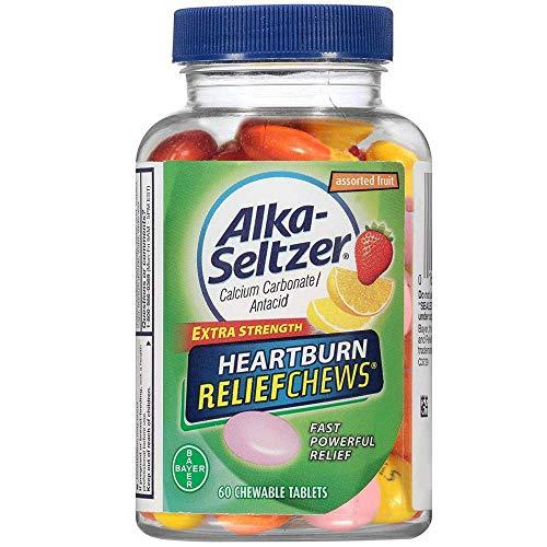 Alka-Seltzer Fruit Chews Calcium Carbonate/Antacid Chewable Tablets 60 ea (Pack of 2)
