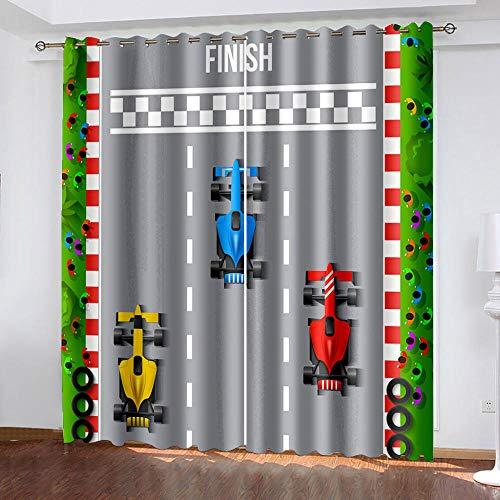 XGFWMS Cortinas Opacas Habitacion Infantil - Patrón Dibujos Animados Racing Grey Impresión 3D Cortinas Opacas Termicas Salon Modernas 2 Piezas 200X160Cm Salón Dormitorio Decoración De La Ventana