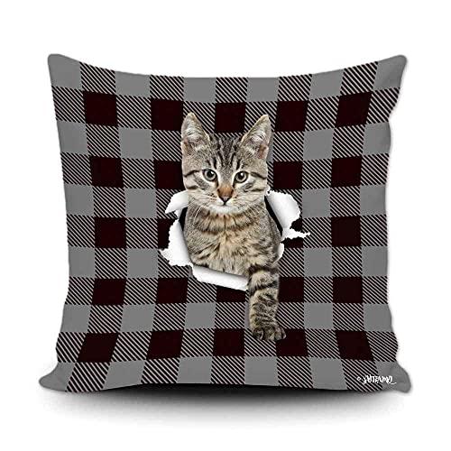 Funda de almohada a cuadros de búfalo negro y gris con diseño de mi amor, perro, gato, decoración del hogar, funda de cojín divertida para sofá, dormitorio, 50,8 x 50,8 cm, impresión de doble cara