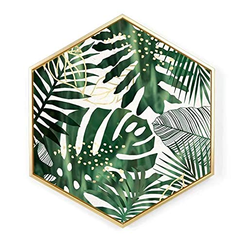 ZHOUYANG Pintura Decorativa murales Modernos Artesanos largas Hexagonal nórdica a través de Simples Cuadros de Pintura Decorativa salón sofá Pared Pintura Mural Moderna