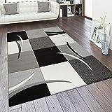 Alfombra Salón Tamaños Motivo Cuadros Rayas Diseño 3D Pelo Corto, tamaño:80x150 cm, Color:Blanco y Negro