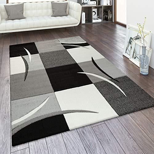 Alfombra Salón Tamaños Motivo Cuadros Rayas Diseño 3D Pelo Corto, tamaño:160x230 cm, Color:Blanco y Negro
