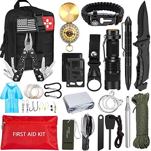 MIBOTE Emergency Survival Kit, Professional Survival Gear Tool First Aid Kit SOS Emergency Survival Kit with Molle Pouch for Camping Adventures