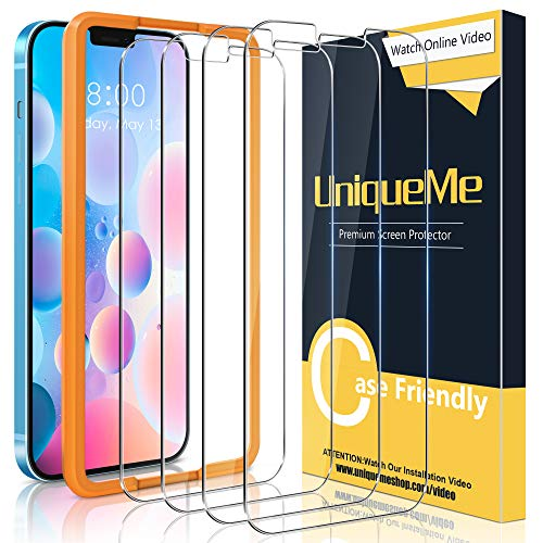 [4 pezzi]UniqueMe Pellicola Protettiva Compatibile con iPhone 12 6,1/iPhone 12 Pro [Bubble-Free], [Facileinstallare] Vetro Temperato Con strumenti di installazione[videotutorial] [Durezza 9H].