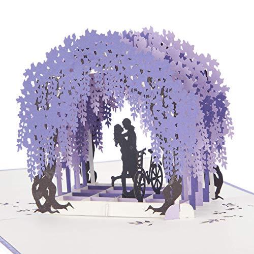 Hochzeits-Verlobungskarte - Wisteria PopUp Card | Karten für Hochzeit, Jubiläumskarten | 15 x 15 cm | handgemachte Karten von Cardology