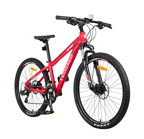 YEOGNED 26' Mechanical Lockout Suspension Adjustable Fork Variable Speed Aluminum Mountain Bike for Path,Trail & Mountain, 24 Speends, Disc Brake,Thumb Shifter,for Man Women (Red)