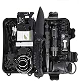 Survival Kit 15-in-1,Outdoor Emergency Survival Kit Valentines Day Gifts for him Birthday Gifts for Men Dad Husband Boyfriend Boy with Hunting Knife / Tactical Flashlight for Camping Hiking Adventure