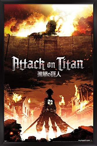 Trends International Attack on Titan Fire Wall Poster 22.375' x 34', Black Framed Version