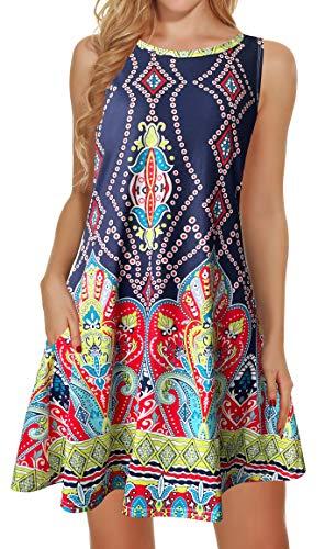 Women's Summer T-Shirt Dress Sleeveless Beach Bohemian Floral Sundress Tunic Swing Casual Loose Pockets(S2-Deep Blue,M)
