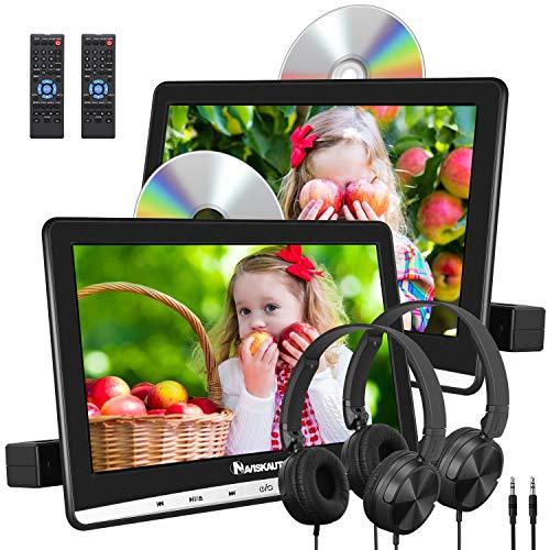 "NAVISKAUTO 2 10,1\"" DVD Player Auto Slot In Design DVD Player Tragbar Kopfstütz Monitor mit Kopfhörer 1080P HD 1024*600 Memory TF USB bis 128GB AV In/Out"
