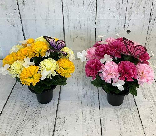 Butterfly Grave Artificial/silk flower pot arrangement funeral 30cm,(MIXED PAIR OF POTS) PLUS PACK OF SMALL BUTTERFLY CLIPS FOR FLOWER ARRANGEMENTS