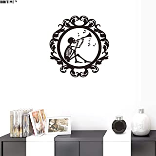 BIBITIME Halloween Wall Stickers Skull Playing Trumpet Music Notes in Round Circle Art Decal 16.9