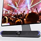 【𝐏𝐫𝐨𝐦𝐨𝐜𝐢ó𝐧 𝐝𝐞 𝐒𝐞𝐦𝐚𝐧𝐚 𝐒𝐚𝐧𝐭𝐚】 Barra de Sonido Bluetooth, Altavoz portátil para computadora de Escritorio, Auriculares de Doble Uso, Volumen más Alto, Claro como el Cristal(Negro)