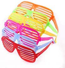 12 Pack Neon Color Shutter Style Glasses 80's Party Slotted Sunglasses for Kids & Adults, 80s Retro Rock Pop Star Disco Dress-Up Party Pack Supply Set