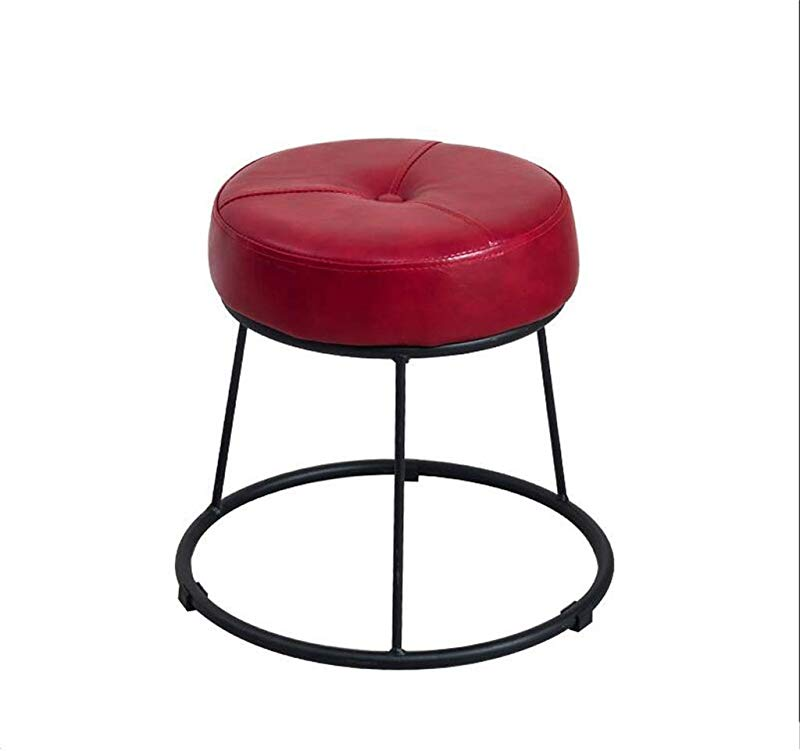 Round Metal Footstool Upholstered Ottoman Creative Sofa Footrest Change Shoe Stool Luxury Dining Chair 6 Colors Color Red Size High36 5cm