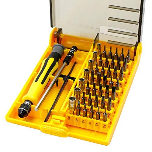 Cyful - Juego de destornilladores de precisión 45 en 1 con 42 puntas de destornillador, kit de herramientas de reparación electrónica para teléfono, consola de juegos, tableta, PC, etc.