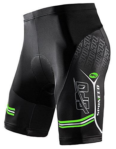 sponeed Men#039s Bike Shorts with Padding Bottoms Cycling Pants Bicycle Wear US M Green Multi