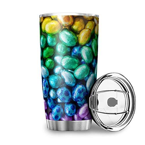 DAMKELLY Store Taza de acero inoxidable con diseño de huevos de Pascua de gran capacidad, reutilizable, con cubierta a prueba de salpicaduras para viajes, color blanco, 600 ml