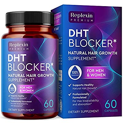 Replexin DHT Blocker Hair Loss Supplement - Supports New Follicle Growth - High potency Biotin Hair Growth Supplement - Hair Loss Pills for Women and Men - One Month supply