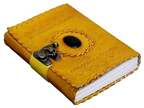 TUZECH Genuine Handmade 100% Pure Leather Vintage Unique Diary for Office Home Daily Use with C Lock Yellow (7 Inches)