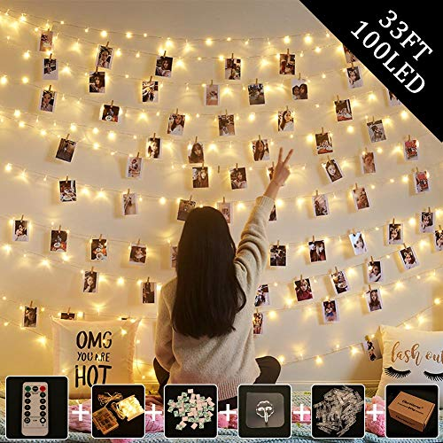 OurWarm Led Photo Clips String Light, 33ft 100 LED Fairy String Lights with 50 Clear Clips, 8 Modes Battery/USB Powered Twinkle Lights for Indoor Outdoor Bedroom Wall Decor